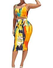 ملابس نسائية من قطعتين من GAGA مطبوع عليها صبغة التعادل توب قصير وتنورة ضيقة للجسم متوسطة الطول