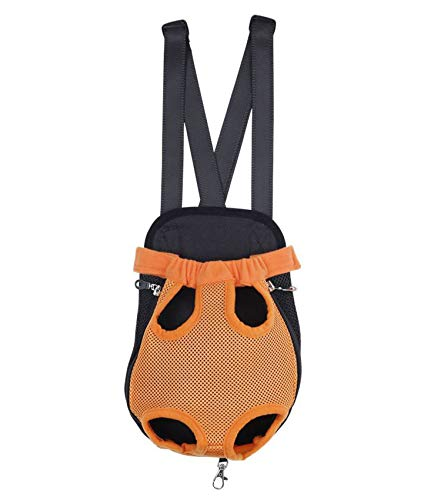 (White Island Pet Carrier Dog Front Chest Backpack Five Holes Backpack Dog Outdoor Carrier Tote Bag Sling Holder Mesh Cat Puppy Dog Carrier,Orange)