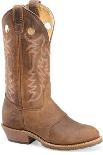 - Double H Ladies Brown Leather Buckaroo Ice Cell Western Cowboy Boots Round Toe (Size 8)