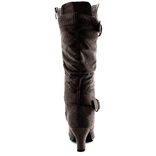 """Dailyshoes Damen Slouchy Mid Calf Riemchen Stiefel mit Knöchel und Top Straps - 2 """"Heel Fashion Boots Braun Sv"""