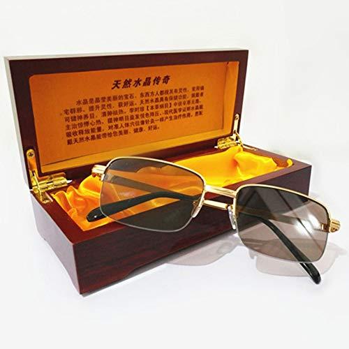 300 Hd Lente Cristal Viejas Negro Glasses Espejo 100 Plano Fotograma Piedra Medio Lectura Antifatiga Marrones Sol Gafas Protectoras Masculina ° De Gold Hp8P80wqvx