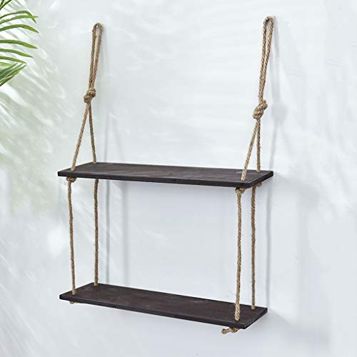 Wall Mounted Wood Shelf, Rope Swing Floating Shelves, Hemp Rope Hanging Screen DIY Wall Storage Organizing Rack, Retro Storage Decoration for Flower Pot, Photo Frame, Books, CD, Ornament, Decorations