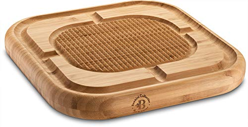 Premium Bamboo Carving Board with Deep Juice Groove, Meat Cutting Board Wood Steak Chopping Board, Serving Tray Pyramid Design to Stabilize Beef and Poultry While Carving, (13.5 X 13.5)
