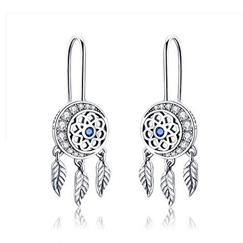 Earrings 925 Sterling Silver Dangler for Women Girls Classic Crystal Ear Hoop (Dream Catcher) -