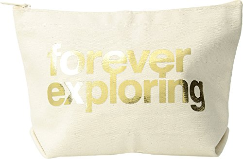Dogeared Women's Lil Zip, Forever Exploring Natural/Gold One Size - Lil Zip Bag