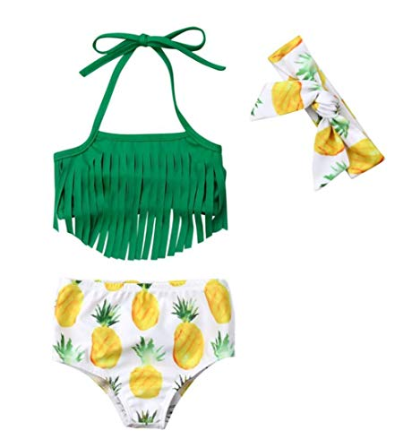 (Styles I Love Infant Baby Girls Pineapple Fringe Bikini Swimsuit with Headband Bathing Suit Beach Pool Water Game Swimwear 3pcs Set (70/3-6 Months))