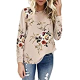Ultramall Tops Women Casual Round Neck Floral
