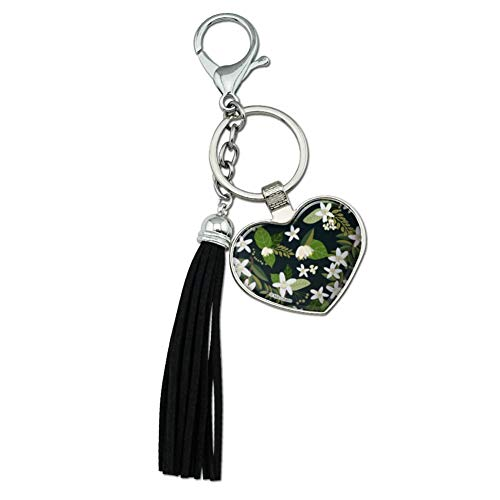 Graphics and More Jasmine Flowers Chrome Plated Metal Heart Leather Tassel Keychain ()