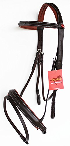 Raised Padded Bridle (TackRus Horse English Bridle Padded Leather Raised Adjustable Flash Reins FULL 803442CKF)