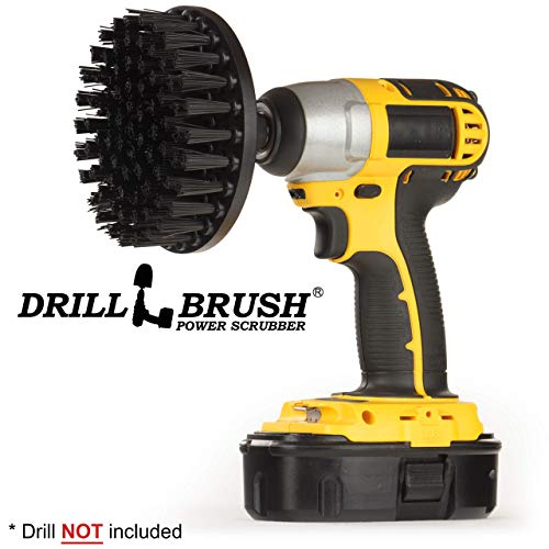 5 Inch Diameter Ultra Stiff Nylon Scrub Brush Used for Heavy Duty Brick and Stone Cleaning with Quick Change Shaft by Drillbrush by Drillbrush