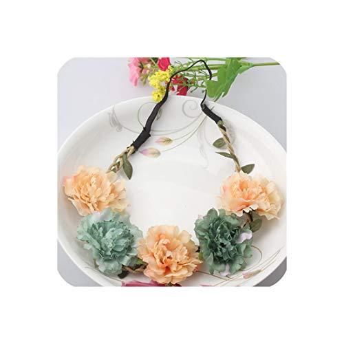 Peony Discount Code (Peony Women's Bohemian Floral Headbands Flower Party Wedding Hair Wreaths Hair Band Ornaments Beach Wrap,Ink Green)