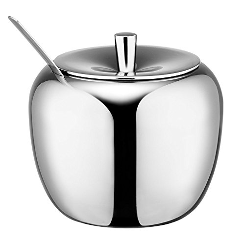 (Funnytoday365 Realand 18/8 Stainless Steel Apple Sugar Bowl Seasoning Jar Condiment Pot Spice Container Canister Cruet With Lid And Spoon)