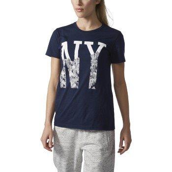 adidas Womens Adidas Athletics Women's Graphic Tee, Collegiate Navy/White/Adi NY, Large