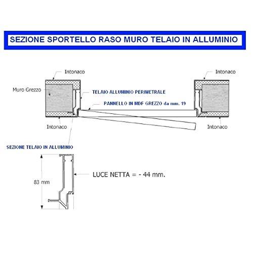 Sportello Filomuro a una anta con apertura invisibileo H80xL200