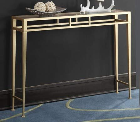 Console Tables for Entryway- Gold Iron Metal Frame Glass Top Perfect for Dressing Up Any Wall in Your Home ()