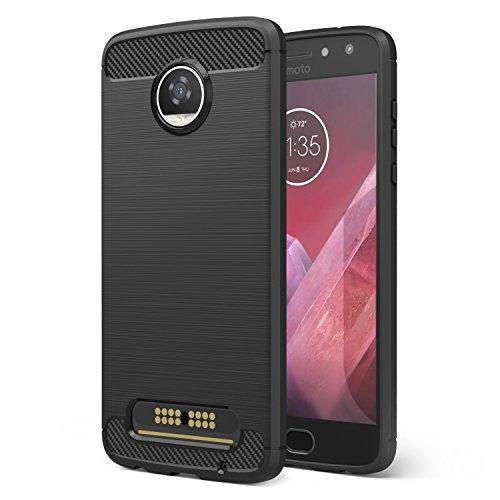 Motorola Moto Z2 Play Case, MoKo Flexible TPU Bumper Slim Fit Case Carbon Fiber Design Lightweight Shockproof Back Cover for Moto Z2 Play 5.5 Inch (2017), BLACK