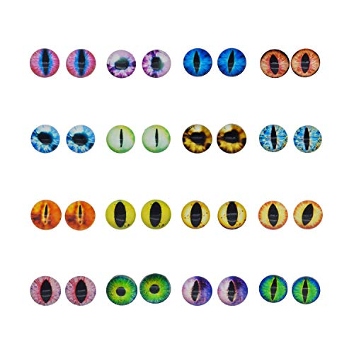 100PCS/Pack 15MM Assorted Round Glass Animal Eye Flatback Cabochons for Polymer Clay Doll Craft Making 25mm Cat Eye Evil Eye Bag (White Glow In The Dark Contact Lenses)