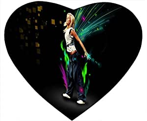 Street Dance White Heart Shaped Mouse Pad - Hesititations by mcsharks