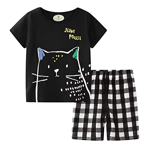 BIBNice Little Boys Clothes Short Sleeve Shirts Sets Cotton Cat Size 6t