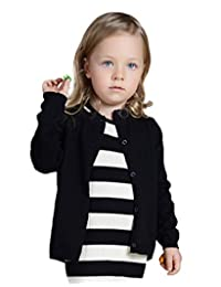 YOUJIA Unisex Long Sleeve Cardigan Kids Solid Color O-Neck Knit Sweater Tops