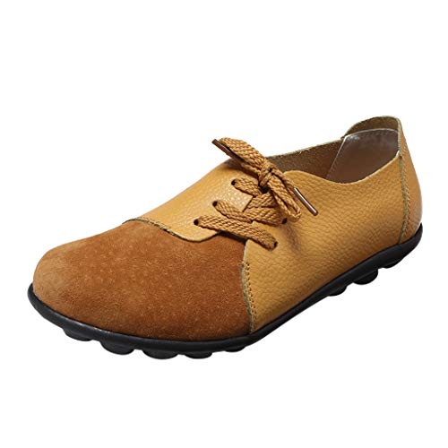 ONLY TOP Women's Comfortable Leather Slip On Flat Loafers Summer Round Toe Walking Shoes Driving Moccasin Shoes ()