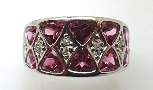 14k 3ct Pink Compatible for Genuine Natural Tourmaline Ring with .12ct Diamonds (#J3515) ()