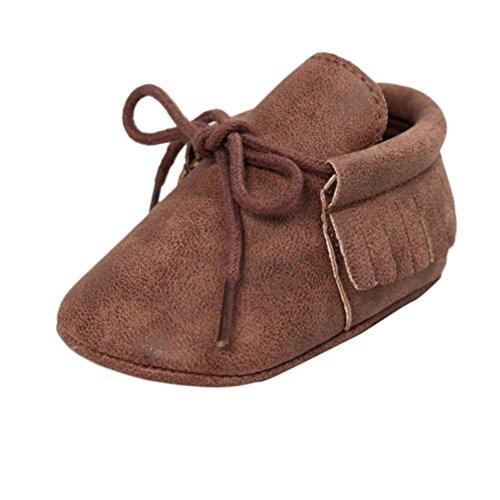 Price comparison product image Sharemen Baby Crib Tassels Bandage Soft Sole Shoes Infant Prewalker (0-6 Months