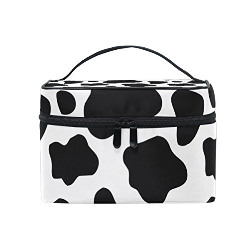 Cooper girl Cow Print Cosmetic Bag Travel Makeup Train Cases Storage Organizer