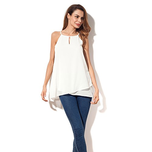 - Nordicwinds Women's Sexy Chiffon Camisole Tank Top Summer Casual Loose Blouse White