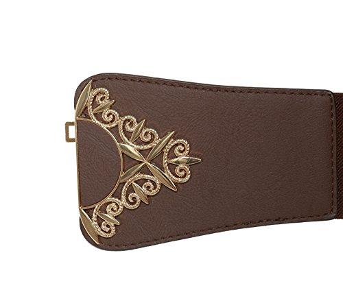 Modeway Womens Wide Leather Elastic Stretch Cinch Waist Belt(L-XL,Coffee)AP03-2