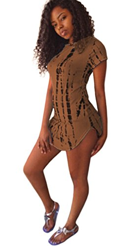 Kearia Womens Short Sleeve Scoop Neck T-shirt Mini Dress with Black Tie...