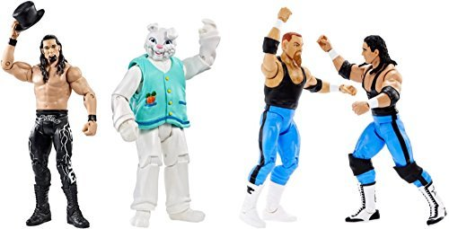 Toy Kids Playtime Fun Indoor Action Figure WWE Superstars Battle Pack Bret Hart and Jim Neidhart Action Series 47 Figure, 2 Pack & Adam Rose & Bunny BUNDLE of 2