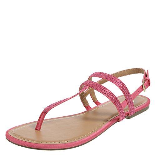 31568ddf36e Fioni Fuschia Women s Smyth Embellished Flat Sandal 9 Regular