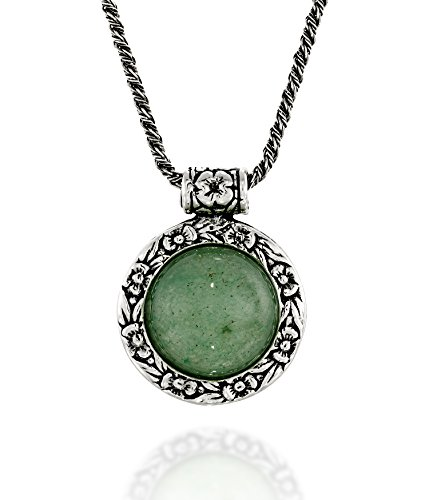 Antique Style Green Aventurine Pendant Round Floral Design 925 Sterling Silver Gemstone Necklace, 20""