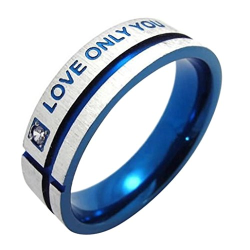 Kimanli Romantic Stainless Steel LOVE ONLY YOU W. Cubic Zirconia Couple Promise Ring (10, Blue)