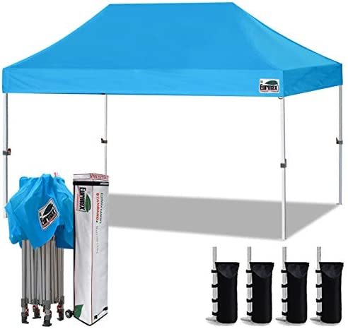 Eurmax 10 x15 Ez Pop Up Canopy Tent Commercial Instant Canopies with Heavy Duty Roller Bag,Bonus 4 Sand Weights Bags Sky Blue