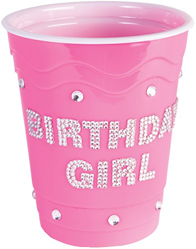 Pink Drinking Diamond Studded Birthday Girl Solo Cup Costume Accessory