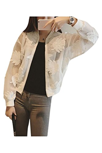 Nimpansa Women Baseball Jacket Casual Floral Embroided Mesh Sheer Jackets White M