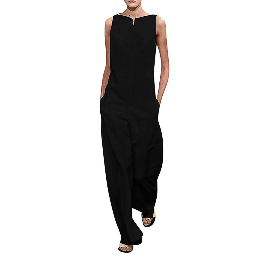 Women Long Jumpsuits Casual Loose Cotton Sexy Sleeveless Pockets Wide Leg Fashion Solid Rompers Playsuits Daorokanduhp by Daoroka Rompers & Jumpsuit