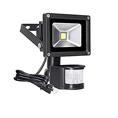 Big Sale!10W Motion Sensor LED Flood Light, 6000K Daylight White, 1100lm(MAX), IP65 Waterproof Security Spotlight with PIR for Driveway, Parking Lot - Black: Home Improvement