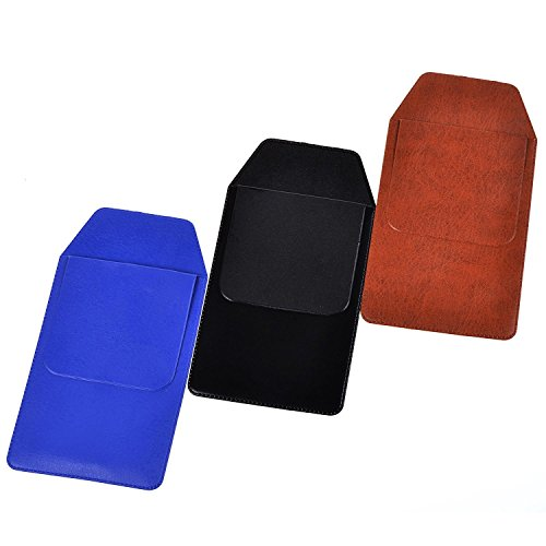 Life VC Assorted Colors PU Leather Pocket Protector for Pen Leaks (Black#Blue#Brown)