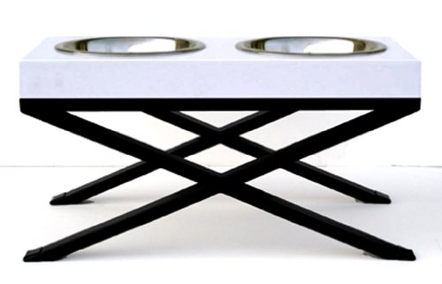 Woodsman Elevated Dog Bowl - White - Large 12'' by NMN Products