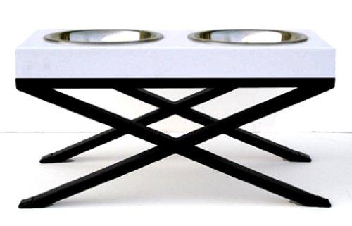Woodsman Elevated Dog Bowl - White - Large 12''