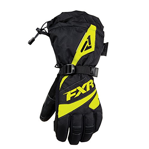 FXR Snowmobile Fusion Glove Authentic Thinsulate Waterproof Pre-Curved Fit - X-Small - Black/Hi-Vis (Fxr Snowmobile Gloves)