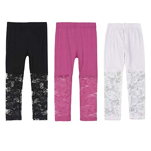 Girls Lace Tights - Weixinbuy Kid Baby Girl's Lace Tight Legging Pants Comfy Capri Summer (6-7Y, 3PACK)