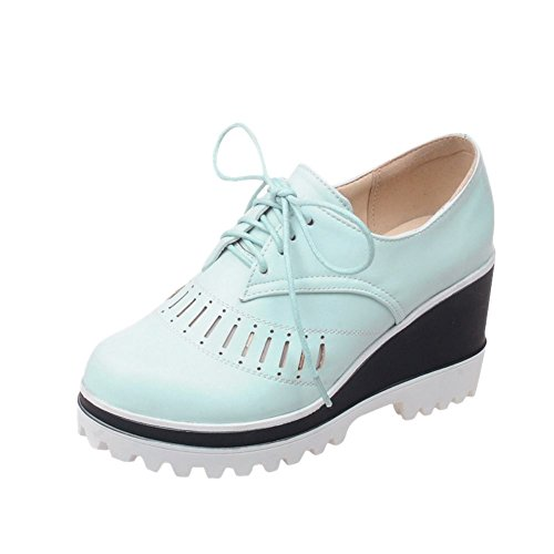 Carolbar Womens Lace-Up Platform Fashion Cute Sweet Wedge Heel Oxfords Shoes Blue