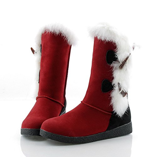 AmoonyFashion Boots Heels Colors Womens Frosted Imitated Closed 5 Plush B US 5 Red M Toe Round Assorted Short Low Suede qOFCqr4
