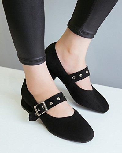 Aisun Mujeres Square Toe Abrochado Cute Low Cut Elegante Grueso Tobillo Correa Mary-jane Pumps Zapatos Negro