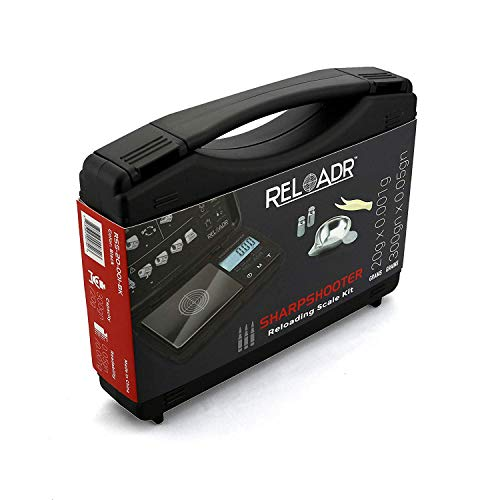 Truweigh Sharpshooter Digital Reloading Scale - 20g x 0.001g - 300 Grains x 0.05gn Black - Milligram Powder Measure Dispenser Grain Scale