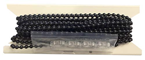 NCMORIN - FREE SHIPPING 20ft. Black Plastic #10 Chain - with 4 Connectors - Blind Beaded Bead Ball
